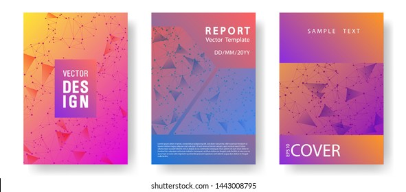 Business report template. Global network connection triangles grid. Interlinked nodes, neuron or big data cloud structure concept. Network nodes information technology cover.