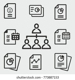 Business report vector icons set. Black illustration isolated for graphic and web design.