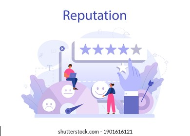 Business reputation concept. Building relationship with people and improving customer loyalty. Idea of rating and feedback. Flat vector illustration