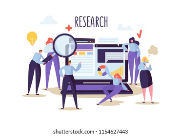 Business Research and Analysis Concept. Flat Characters People with Laptop. Teamwork Innovation Financial Strategy. Vector illustration