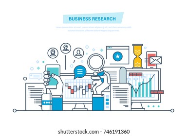Business research. Business analysis, data analytics and research, strategy statistic and planning, marketing. Investment growth. Search and analysis of information. Illustration thin line design.