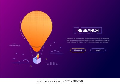 Business research - modern isometric vector web banner