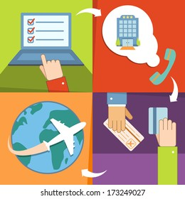 Business reservation and booking icons set with hands for vacation trip payment and ticket purchase vector illustration