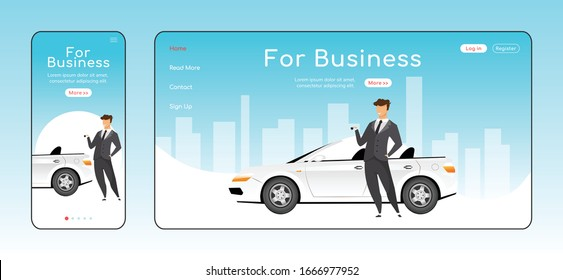 For business responsive landing page flat vector template. Car rental service homepage layout. One page website UI with cartoon character. Corporate transport adaptive webpage cross platform design