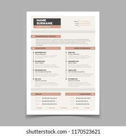Business resume. Cv stylish elegance template. Letter cover vector mockup. Illustration of cv interview application, vitae curriculum