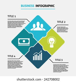 Business rhombus puzzle infographic with 4 options, vector template for diagram, graph, presentation, chart isolated on light background