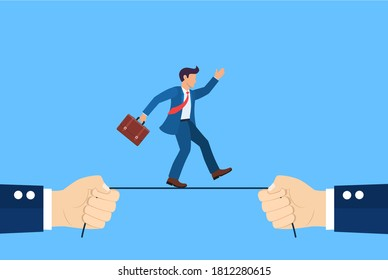 Business risk concept. Businessman is walking and balancing a tightrope. Businessman hold rope in hand. Vector illustration in flat style.