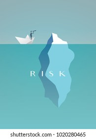 Business risk vector concept with businessman in paper boat sailing close to iceberg. Symbol of danger, challenge, courage. eps10 vector illustration.