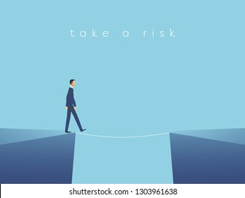 Business risk vector concept with businessman walking on tightrope. Symbol of challenge, success, overcoming and danger. Eps10 vector illustration.