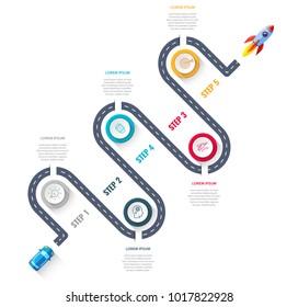 Business road map timeline infographic designed for template technology digital data presentation chart. Startup concept. Vector illustration.