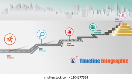 Business road map timeline infographic city milestone pathway to podium designed for modern diagram process technology digital marketing data presentation chart. Vector illustration