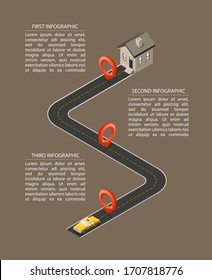 Business road map timeline isometry infographic with Yellow cab taxi with dwelling house. Isometric template milestone element