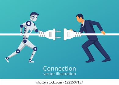 Business and robot connection. Symbol of working together, cooperation, partnership. Future collaboration. Vector illustration flat design. Human and artificial intelligence connect plug to outlet.