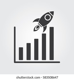 Business Rocket with Bar Chart Stats icon design.