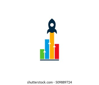 Business Rocket Stats Logo Design Template