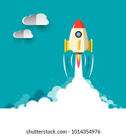 Business Rocketship Startup Symbol. Vector Flat Design Illustration of Rocket Launch.