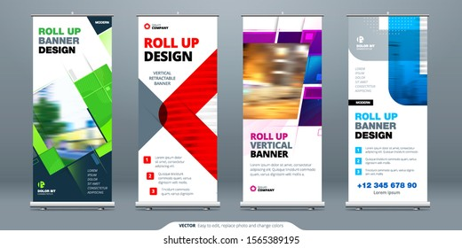 Business Roll Up Banner stand. Abstract Roll up background for Presentation. Vertical Retractable roll up exhibition display, banner stand or flag design layout. Poster for conference, forum