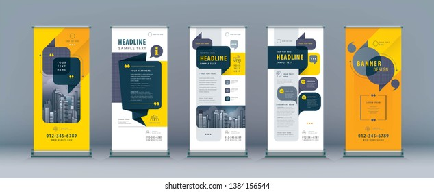 Business Roll Up Set. Standee Design. Banner Template, Abstract Speech Bubbles Background vector, flyer, presentation, leaflet, j-flag, x-stand, x-banner, exhibition display, social networks