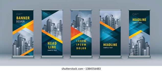 Business Roll Up Set. Standee Design. Banner Template, Abstract Geometric Triangle Background vector, flyer, presentation, leaflet, j-flag, x-stand, x-banner, exhibition display