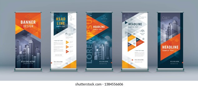 Business Roll Up Set. Standee Design. Banner Template, Abstract Red Geometric Triangle Background vector, flyer, presentation, leaflet, j-flag, x-stand, x-banner, exhibition display