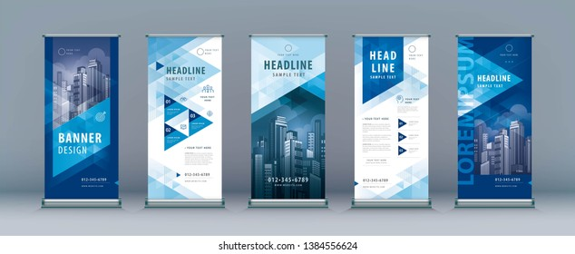 Business Roll Up Set. Standee Design. Banner Template, Abstract Blue Geometric Triangle Background vector, flyer, presentation, leaflet, j-flag, x-stand, x-banner, exhibition display