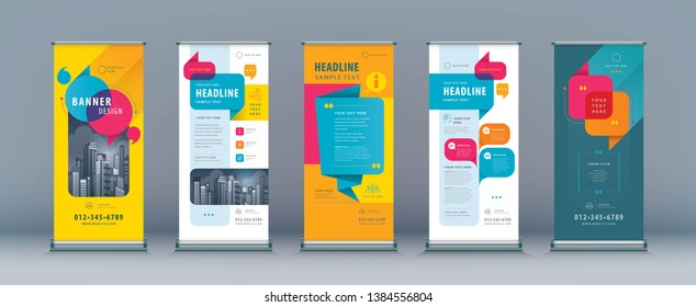 Business Roll Up Set. Standee Design. Banner Template, Abstract Colorful Speech Bubbles Background vector, flyer, leaflet, j-flag, x-stand, x-banner, exhibition display, social, talk bubble
