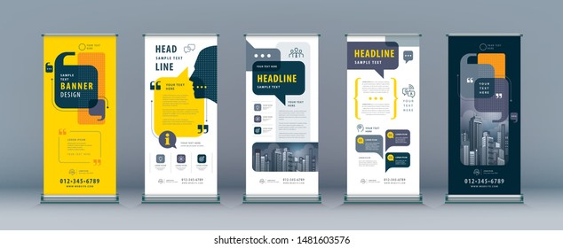 Business Roll Up Set. Standee Design. Banner Template, Abstract Yellow and Black Speech Bubbles vector, flyer, presentation, leaflet, j-flag, x-stand, exhibition display, social networks, talk bubble