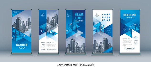 Business Roll Up Set. Standee Design. Banner Template, Abstract Blue Geometric Triangle Background vector Brochures, flyer, presentation, leaflet, j-flag, x-stand, x-banner, exhibition display