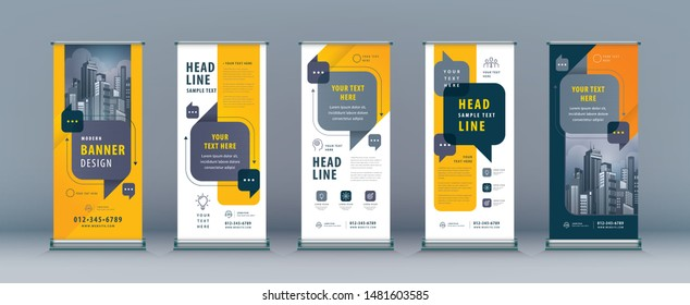 Business Roll Up Set. Standee Design. Banner Template, Abstract Yellow and Black Speech Bubbles vector.flyer, presentation, leaflet, j-flag, x-stand, exhibition display,social networks, talk