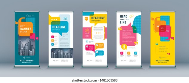 Business Roll Up Set. Standee Design. Banner Template, Abstract Colorful Speech Bubbles vector Brochures, flyer, presentation, leaflet, j-flag, x-stand, exhibition display, social networks,talk bubble