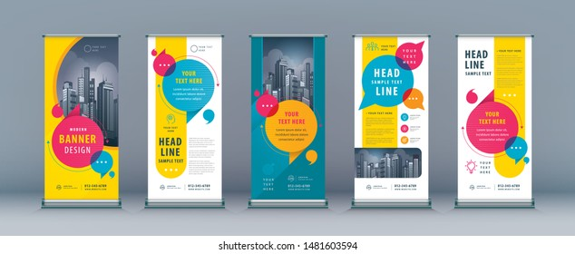 Business Roll Up Set. Standee Design. Banner Template, Abstract Colorful Speech Bubbles vector, flyer, presentation, leaflet, j-flag, x-stand, exhibition display,social networks, talk