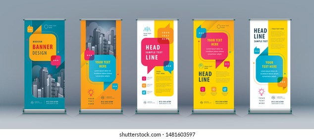 Business Roll Up Set. Standee Design. Banner Template, Abstract Colorful Speech Bubbles vector Brochures, flyer, presentation, leaflet, j-flag, x-stand, exhibition display, social networks, talk