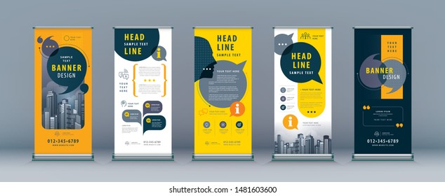 Business Roll Up Set. Standee Design. Banner Template, Abstract Yellow and Black Speech Bubbles vector, flyer, presentation, leaflet, j-flag, x-stand, exhibition display,social networks, talk