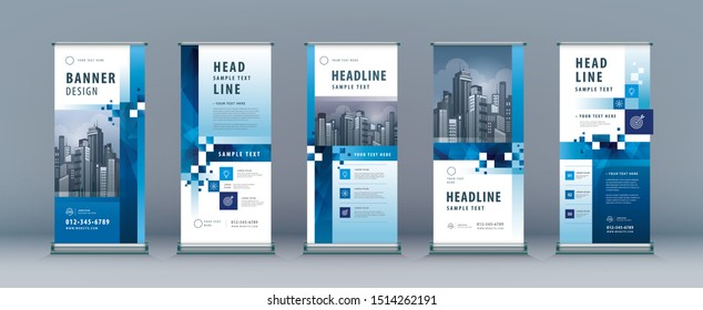 Business Roll Up Set. Standee Design. Banner Template, Abstract Geometric Blue Pixel Background vector, Brochures, flyer, presentation, leaflet, j-flag, x-stand, x-banner, exhibition display