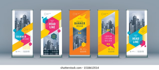Business Roll Up Set. Standee Design. Banner Template, Abstract Colorful Speech Bubbles vector, flyer, presentation, leaflet, j-flag, x-stand, exhibition display, social, talk bubbles