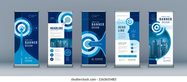 Business Roll Up Set. Standee Design. Banner Template, Abstract Blue Arrow and Target, presentation, j-flag, x-stand, exhibition display, Path to the goal, Concept growth to success, Reach the target