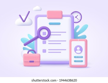 Business rule concept. List of rules, reading guidance, making checklist. 3d vector illustration.