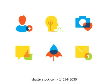 Business and safety - flat design style icons set on white background. High quality colorful images. Add a friend, listening to music, photo, like button, chatting online, unread message symbols