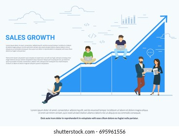 Business sales growth concept vector illustration of professional people working as team and sitting on blue growing chart. Flat people using laptops to develop business. White business background