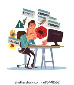 Business scary depressed man character with broken computer. Error window. Dangerous computer virus. Cyber fraud. Vector flat cartoon illustration