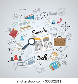 Business Searching Job Newspaper Classified Magnifying Glass Concept Doodle Hand Draw Sketch Background Vector Illustration