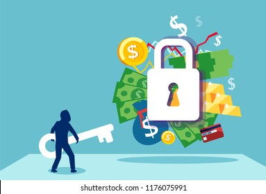 Business security safety protection concept. Vector of a businessman with a key to financial success and employement compensation
