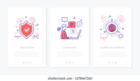 Business and security - set of line design style vertical web banners with copy space for text. Images of a shield, technical support specialist. Protection, consulting, global networking concepts