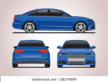 business sedan in blue from different angles. Audi A6.