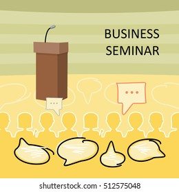 Business seminar background. Wooden speaking tribune with microphone on background of full audience hall. Presentation before an audience, audience questions, business seminar concept. Flat design.
