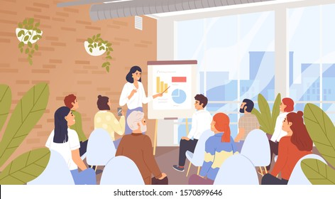 Business seminar, conference vector illustration. Company personnel training, career development course concept. Business coach and lecture listeners, businesspeople cartoon characters.