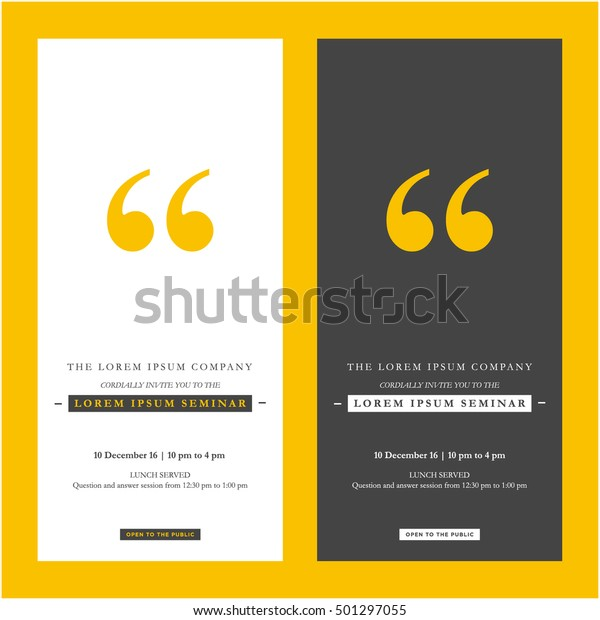 Business Seminar Invitation Design Template Time Stock Vector ...