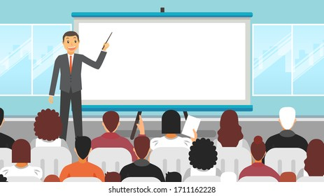 Business seminar speaker doing presentation and professional training about marketing sales. Flat vector illustration of conference with motivation for audience.