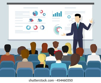 Business seminar speaker doing presentation and professional training about marketing, sales and e-commerce. Flat vector illustration of presentation conference and motivation for business audience