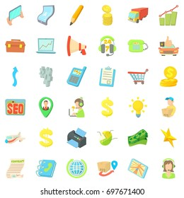 Business seo icons set. Cartoon style of 36 business seo vector icons for web isolated on white background